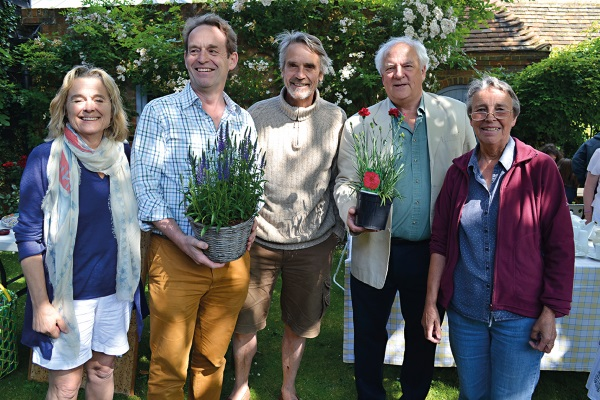 Jeremy Irons in the garden with friends
