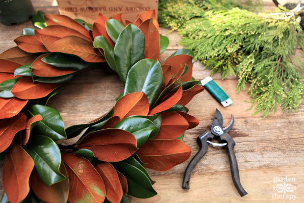 magnolia wreath for the holidays