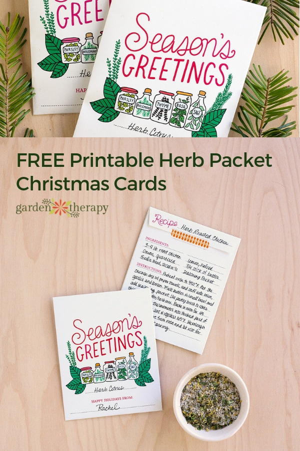 Season's Greetings Free Printable Herb Packet Christmas Cards