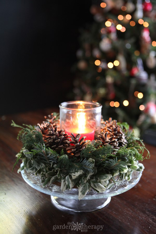 Light up the holiday table with this DIY Christmas candle wreath