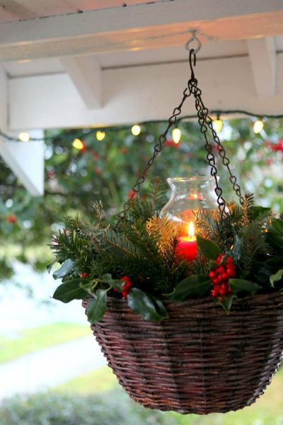 Hanging candle planter for the holidays