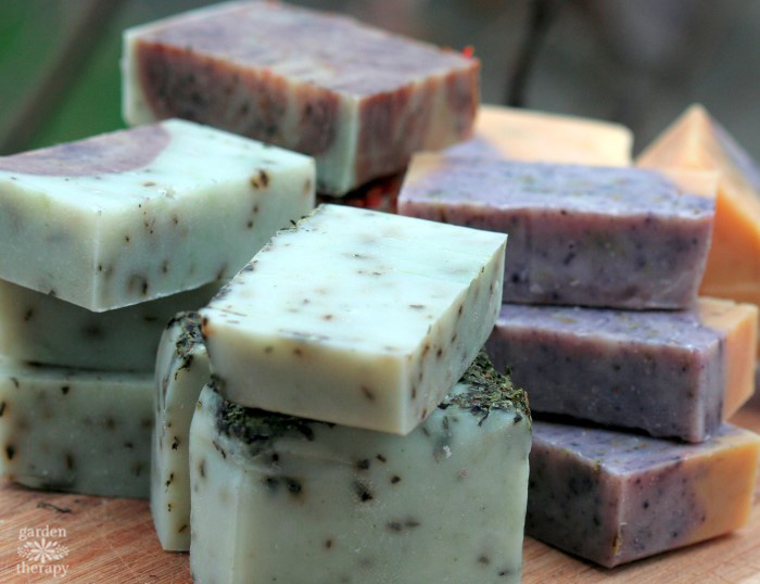 handmade soap with rosemary and spearmint