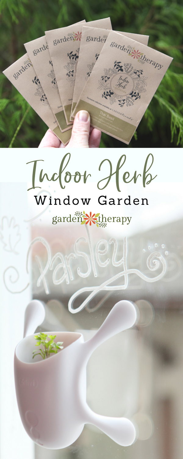 Garden Therapy Seed Collection Indoor Herb Window Garden with Livi Pot