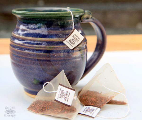 Pumpkin spice tea bags for herbal tea hand soap
