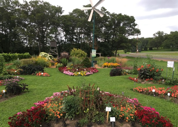 Small formal garden beds full of flowers, divided by neat lawn. A small windmill and tall trees stand in the background.