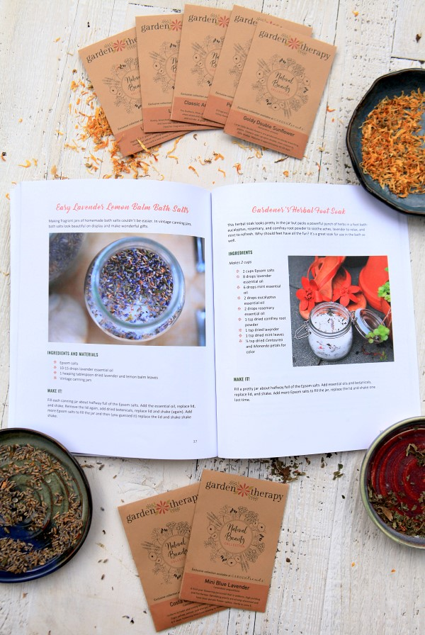 The Natural Beauty Recipe Book, which contains natural recipes for the whole body, alongside the limited edition Garden Therapy Natural Beauty seed packets and dried botanicals