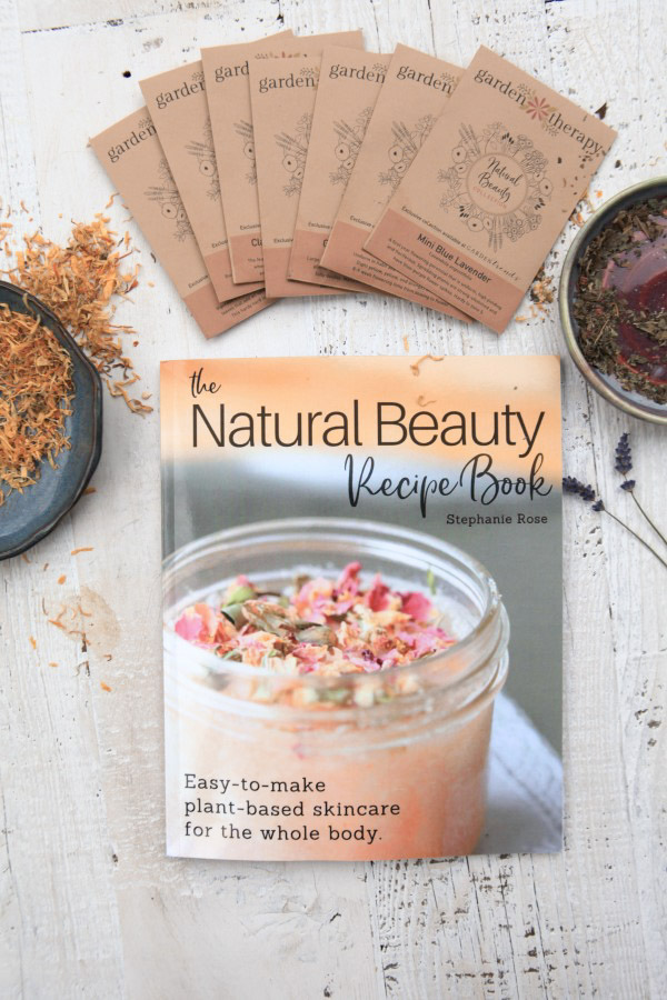 The Garden Therapy Natural Beauty Kit includes a copy of The Natural Beauty Recipe Book and 7 packages of limited edition seeds