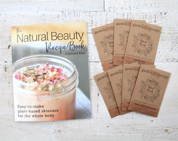 The Natural Beauty Recipe Book and 7 packets of limited edition Garden Therapy seeds for growing a skincare garden are included in this kit