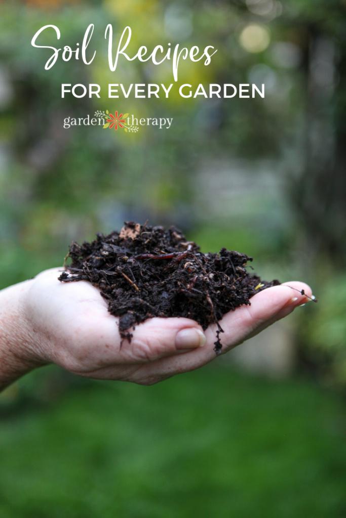 Woman holding a handful of custom garden soil