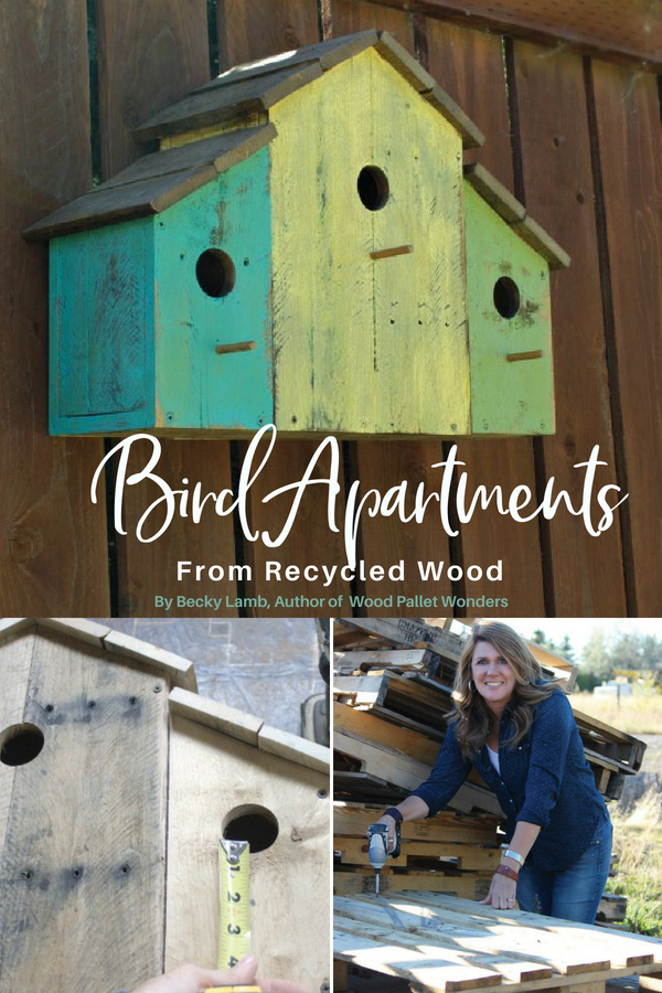 Bird apartments made from recycled wood