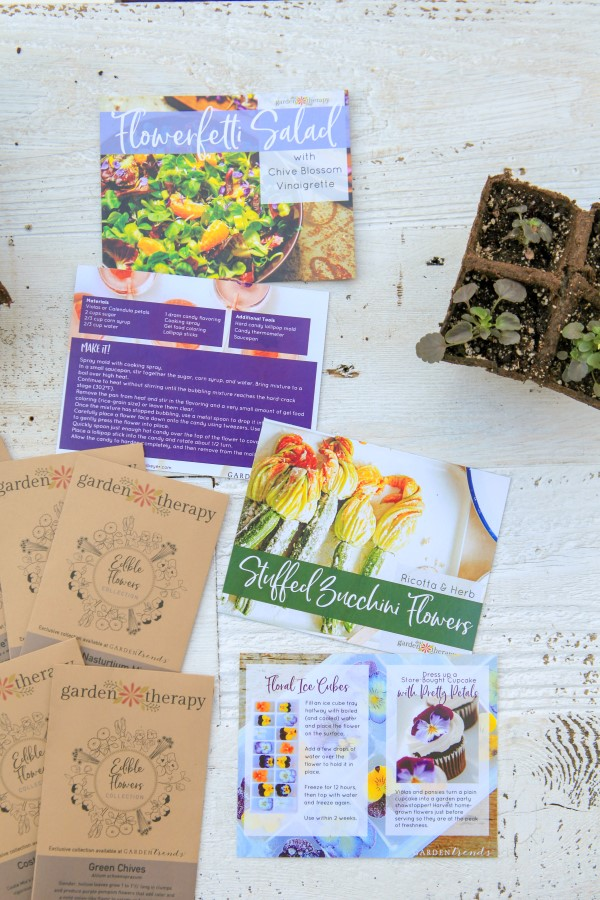 The Edible Flower Kit includes limited edition seeds, recipes, and more