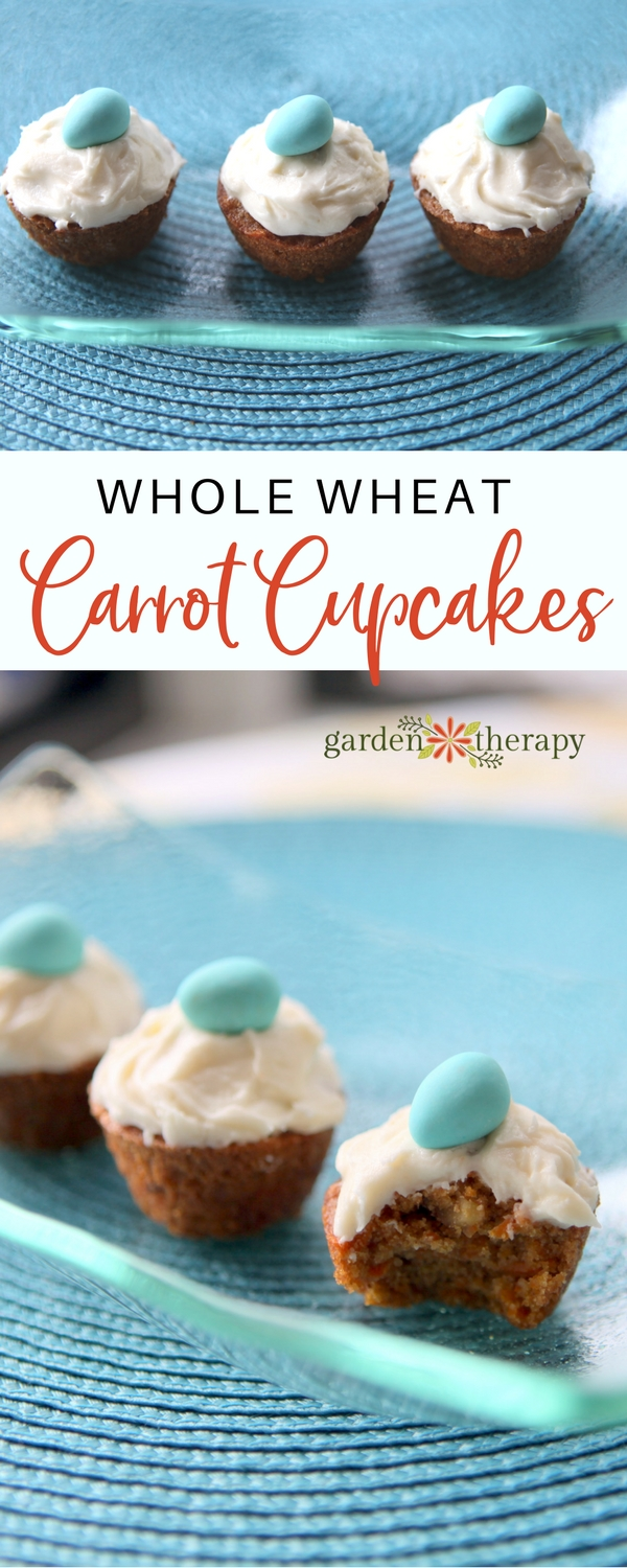 Whole wheat carrot cupcakes look sweet topped with a single candy egg