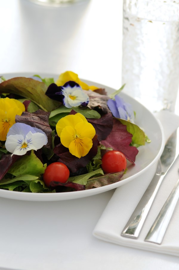 A salad garnished with edible flowers