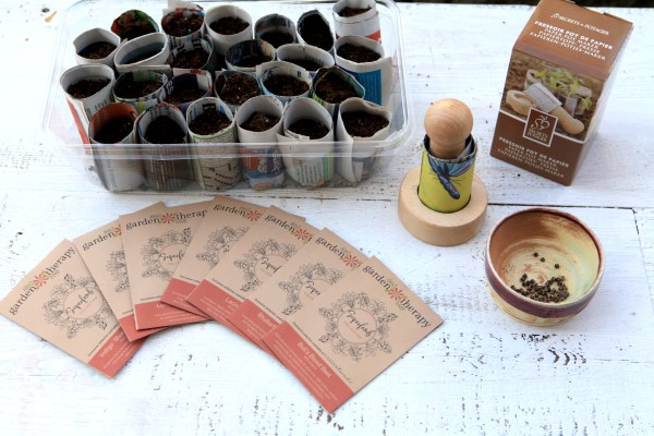 wooden pot-maker and seeds included in the superfoods garden kit
