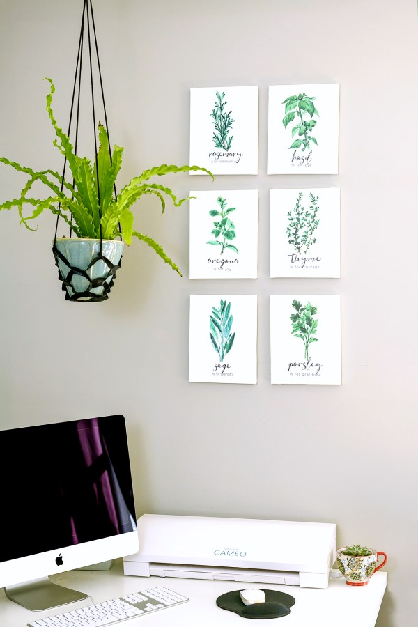 herb prints on display in a home office