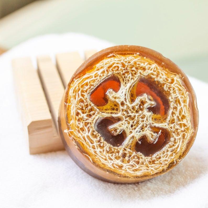 slice of luffa in a handmade soap bar