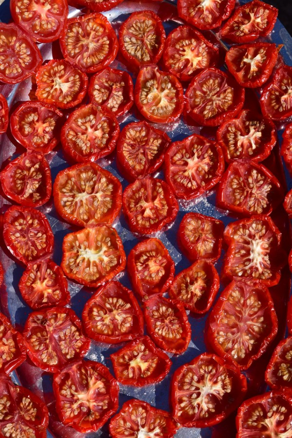 A pan of grape tomatoes dried in the oven