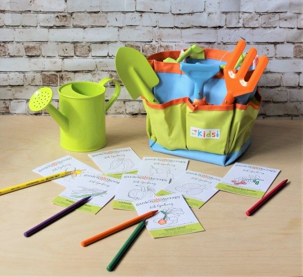 kids' garden tool set and limited edition seeds with packets you can color