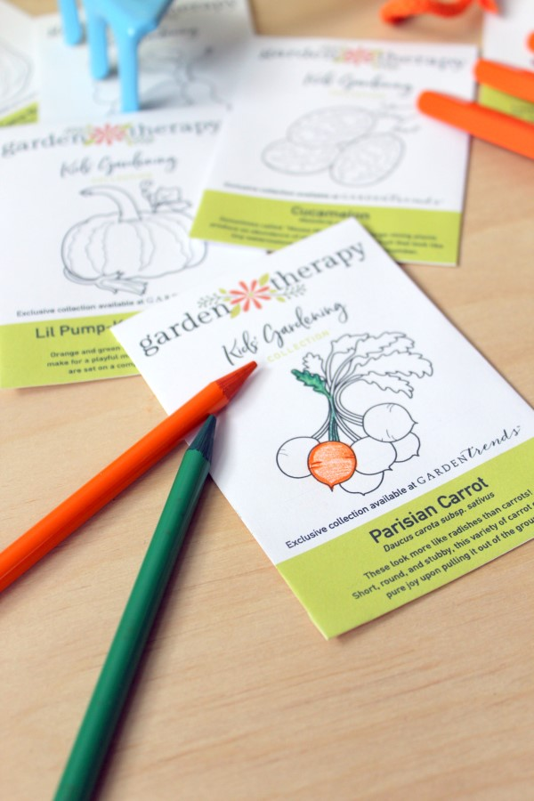 seed packets printed on white paper so you can color them