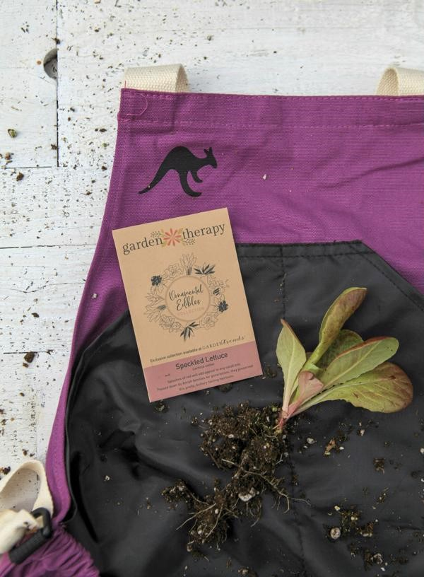 Roo apron with ornamental edible seeds included in the kit