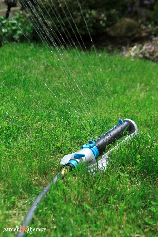 a Heavy Duty Rectangular Sprinkler gives you length and width control for rectangular and square lawns.
