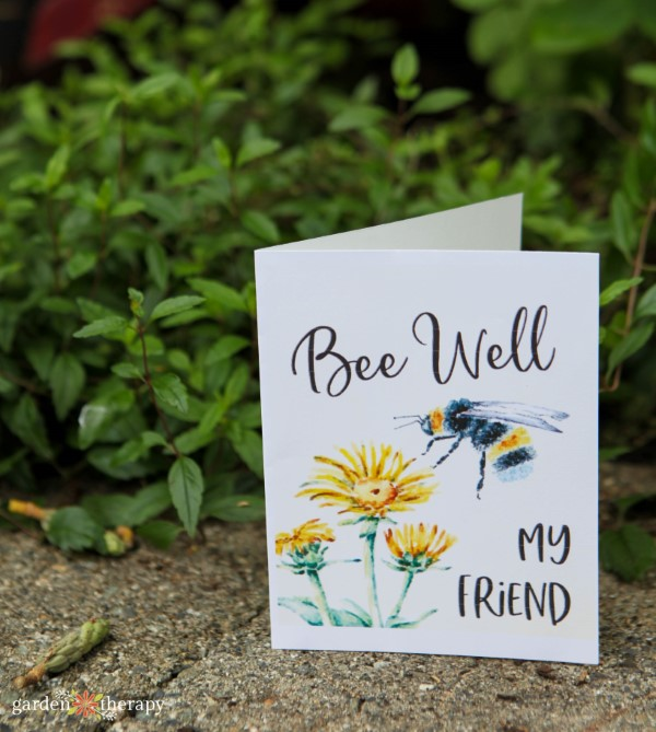 Bee well sympathy card