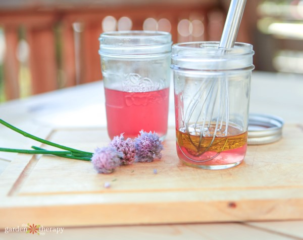 making chive blossom vinegar