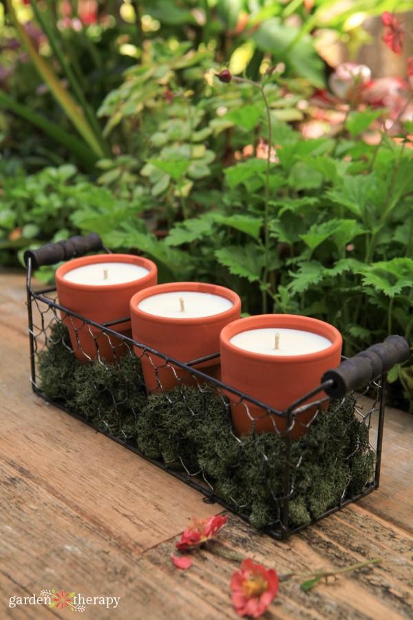 set of three handmade citronella candles