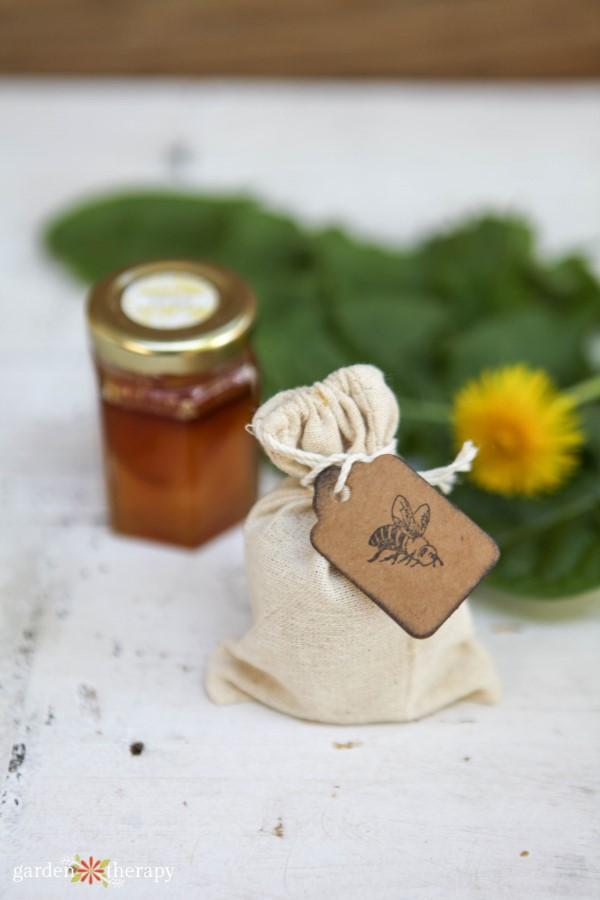 Homemade dandelion honey lip scrub