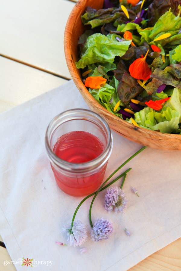 flowerfetti salad with chive blossom dressing