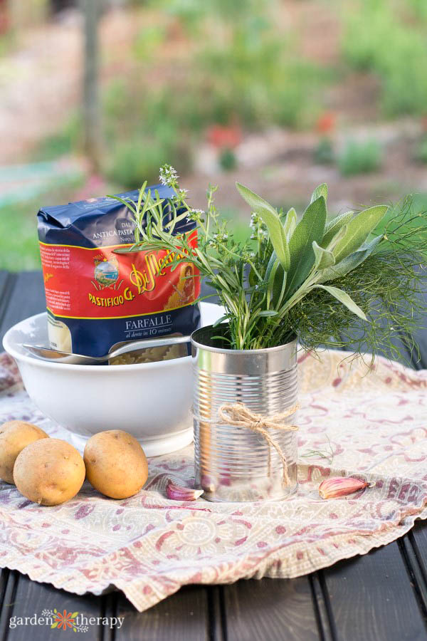 an herbal arrangement in a tin can