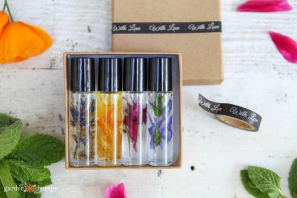 a set of homemade natural perfumes
