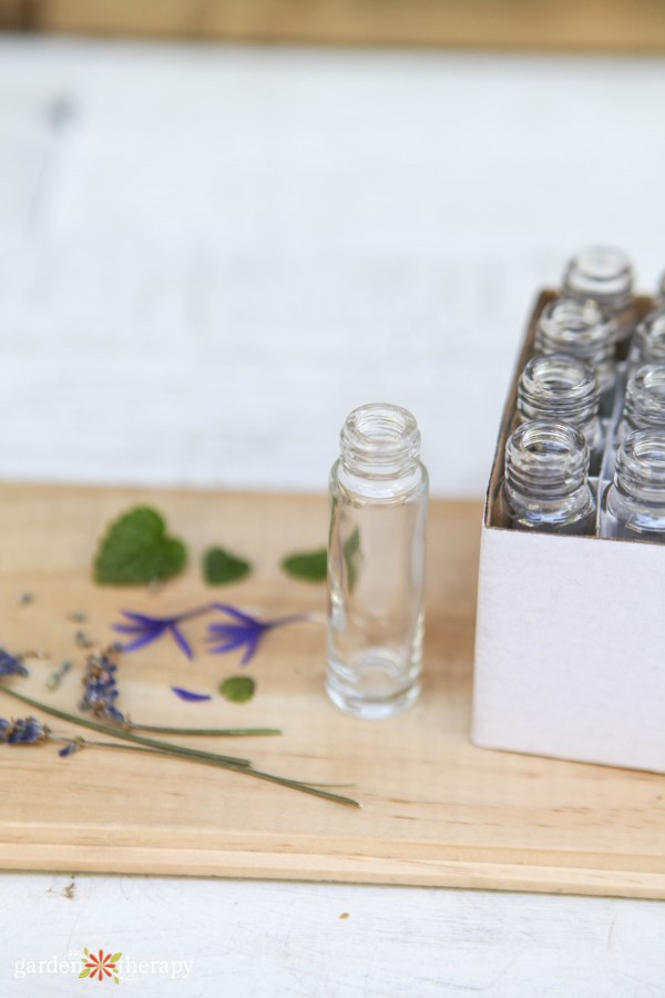 botanicals and bottle for perfume