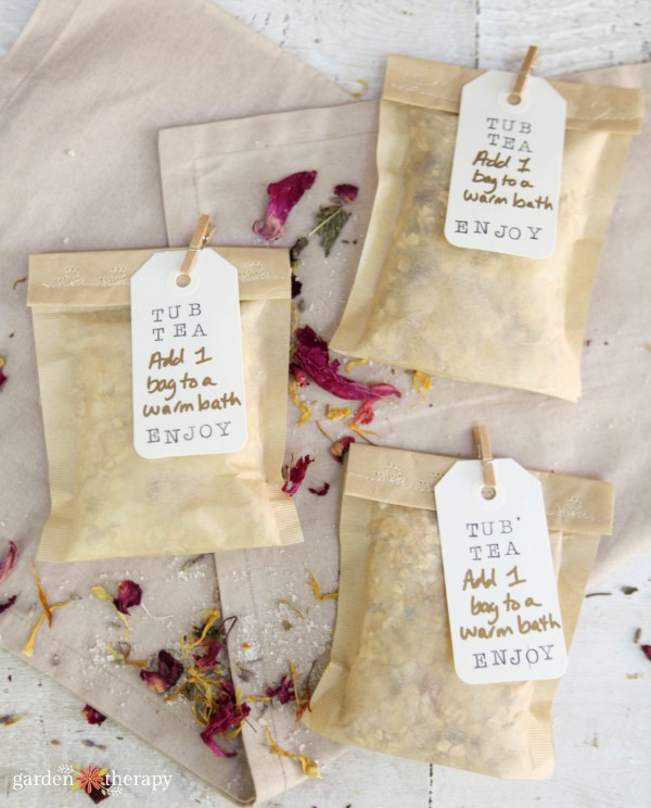 Tub tea filled with dried flower petals