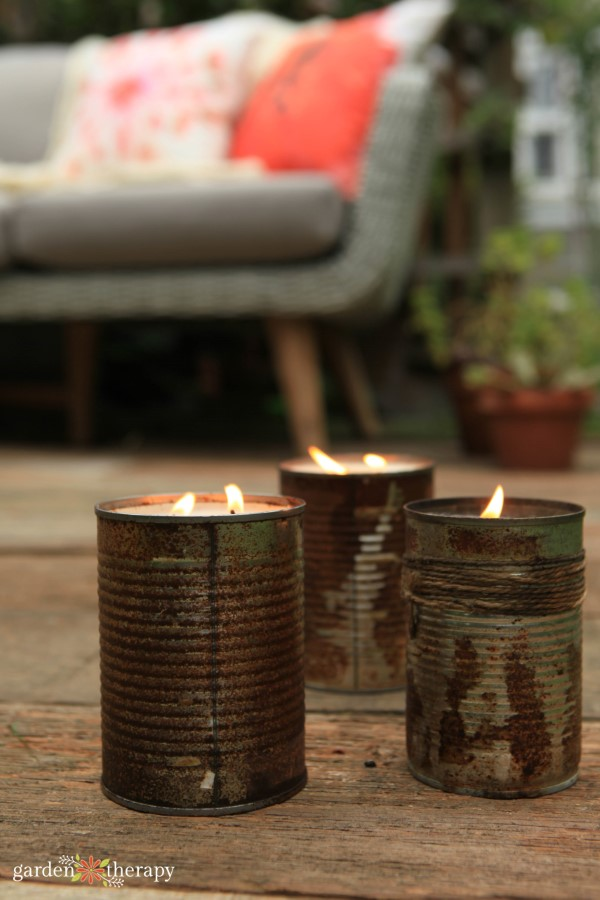 candles on the patio