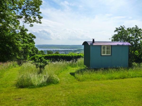 shepherd's hut and view
