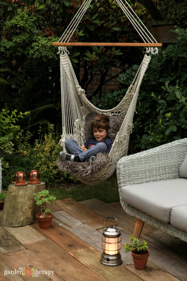 my son in the hammock chair