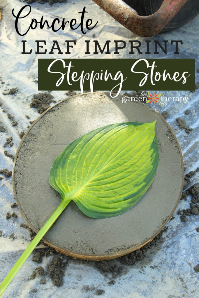 round leaf print stepping stones