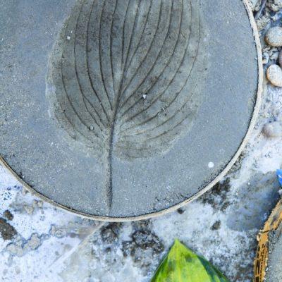 DIY Leaf Print Stepping Stones
