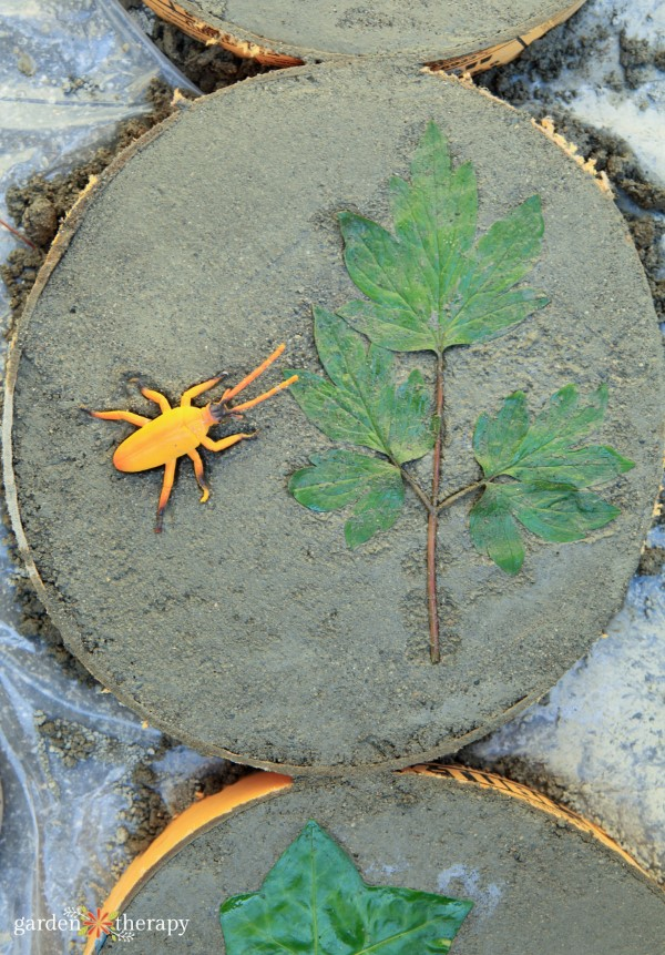 printing stepping stones with a natural leaf and a plastic bug toy