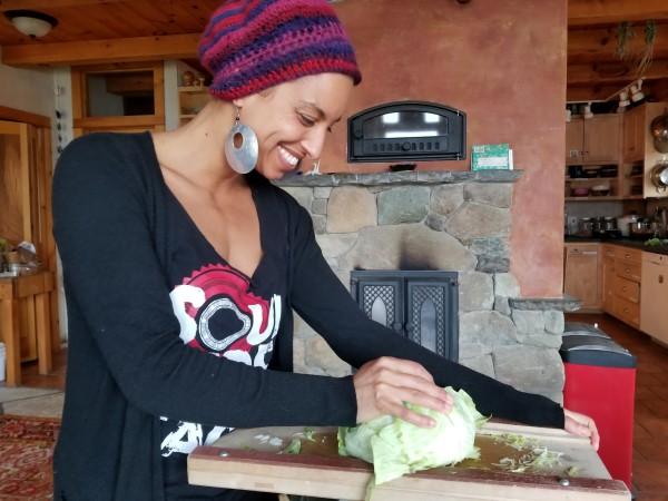 Leah making fermented food