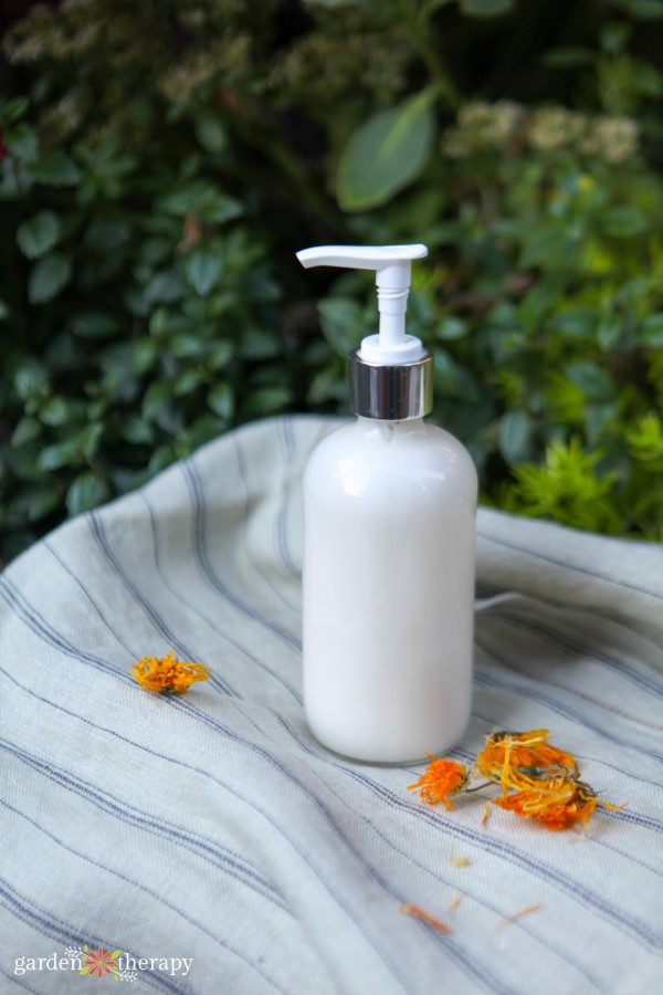 homemade lotion in a pump bottle