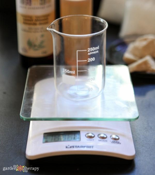 weighing ingredients in a beaker