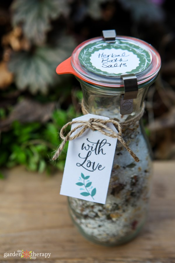 Herbal Bath Salts in Weck Jar with Jute Twine and Label