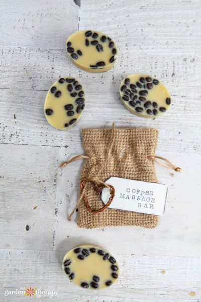 coffee bean massage bars with burlap gift bag