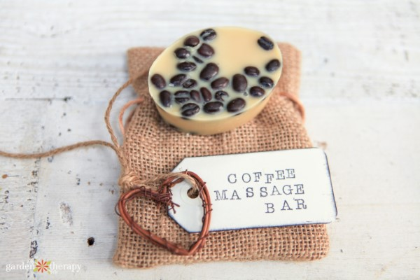 coffee massage bar with a gift tag and burlap bag