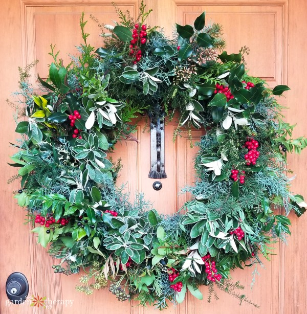Close up Garden Therapy 2018 Christmas Wreath on Door