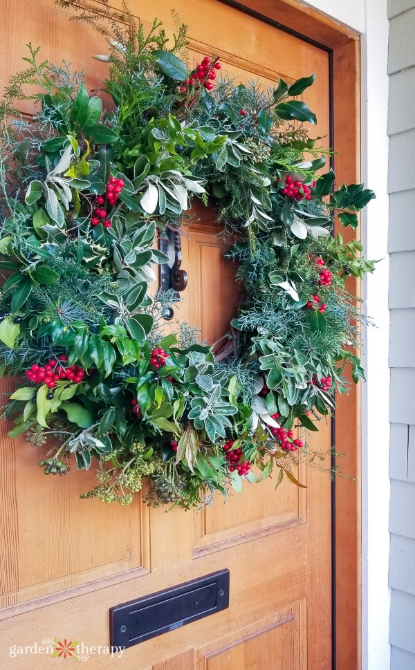 Red and Green Natural 2018 Christmas Wreath on Door