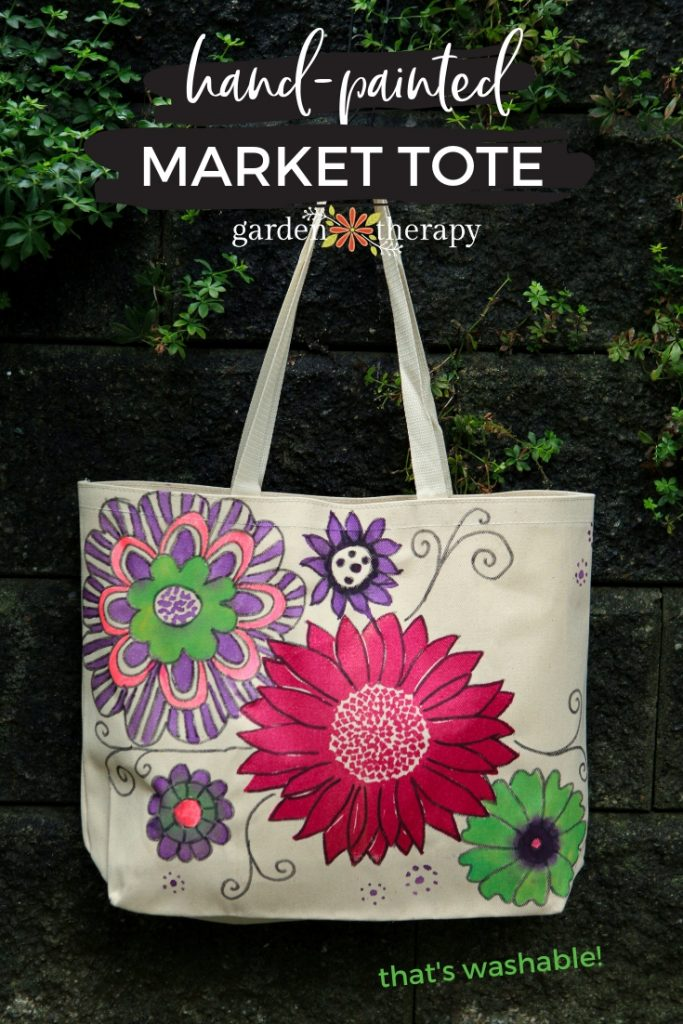 Hand Painted Market Tote Bag that's Washable