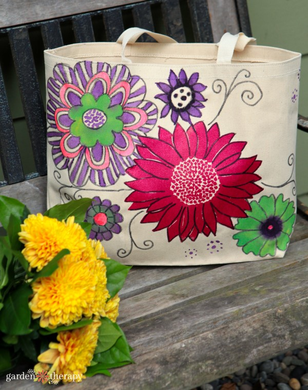 Hand Painted Market Tote Bag